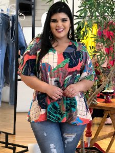 Blusa Cat Tropical Plus Size