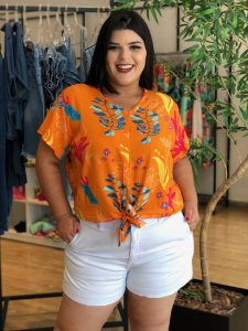 Blusa Safira Orange Plus Size
