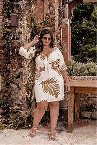 Vestido Glamour Off White com Forro