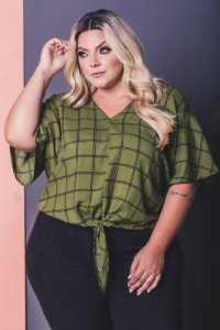 Blusa Xadrez Green Plus Size