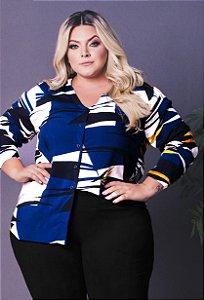 Camisa Geométrica Blue Plus Size