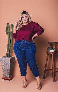 Calça Jogger Jeans Plus Size com Elastano