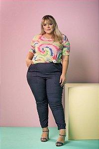 Calça Jogger de Bengaline Estampa Jeans