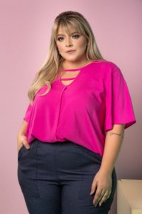 Blusa Work Pink Plus Size