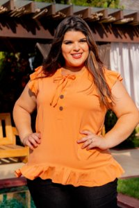 Blusa Life Orange Plus Size