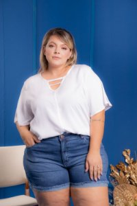 Blusa Work Branca Plus Size