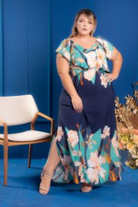 Vestido Long Blue Plus Size