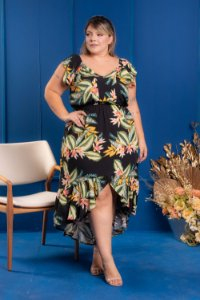 Vestido Long City Estampado Plus Size