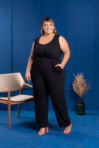 Macacão Long Black Plus Size