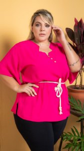 Blusa Heart Pink Plus Size