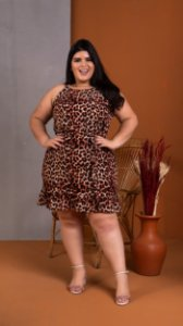 Vestido Animal Print Plus Size