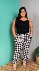 Calça Xadrez Black White Plus Size