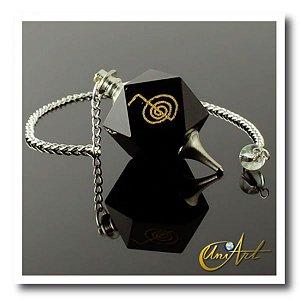 Pêndulo com simbolo Reiki Gravura - Ônix