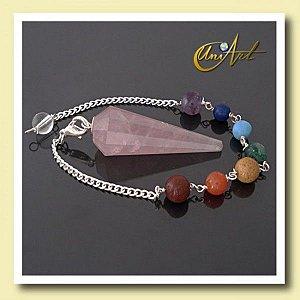 Pêndulo pulseira com 7 Pedras - Quartzo Rosa