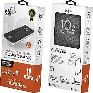 Power Bank Mosaic PB102 10.200mAH + Cabo Micro USB - PRETO - ELG