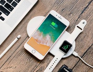 Base Carregadora 2 em 1 QI Wireless Charger  por Indução opara iPhone e Apple Watch  - Mini Airpower