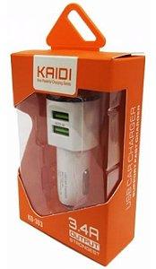Carregador Veicular Duplo Kaidi Carga Rápida 3.4A - KD-303