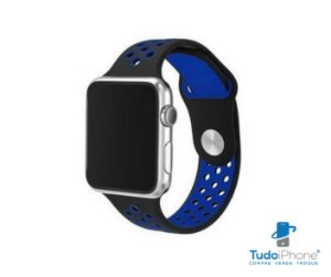 Pulseira Apple Watch - Silicone Esportiva 38/40mm - Azul c/ preto