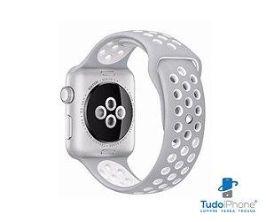 Pulseira Apple Watch - Silicone Esportiva 38/40mm - Cinza c/ branco