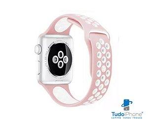 Pulseira Apple Watch - Silicone Esportiva 40/44mm - Rosa c/ preto