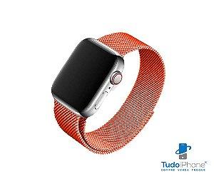 Pulseira Apple Watch - Estilo Milanês 42/44mm - Laranja