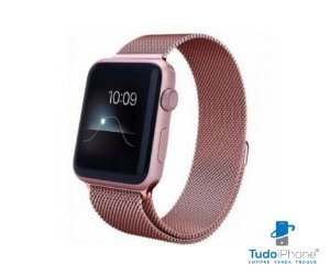 Pulseira Apple Watch - Estilo Milanês 42/44mm - Rosa