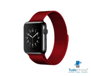 Pulseira Apple Watch - Estilo Milanês 42/44mm - Vermelha