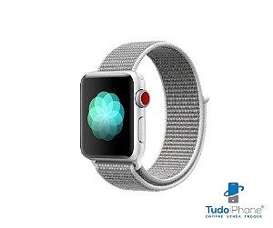 Pulseira Apple Watch - Loop Nylon  42/44mm - Cinza c/ branco