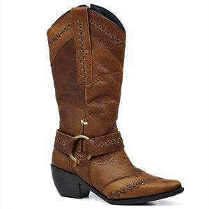 Bota Texana em Couro Rustico Caramelo e Detalhe em Fivela - W104