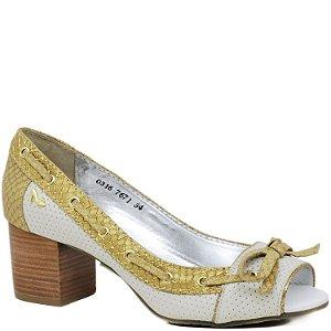 Peep Toe Salto Médio - 7671 - Branco e Serpente Ouro