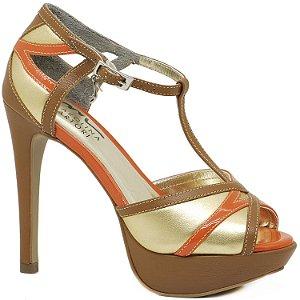 Sandália Salto Alto e Meia Pata - 4963 - Caramelo e Laranja