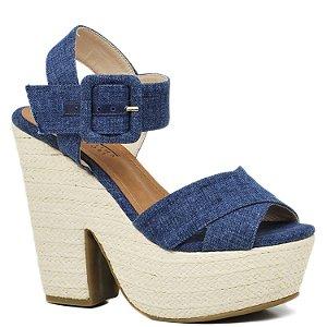 Sandália Anabela - Jeans e Palha - 38003