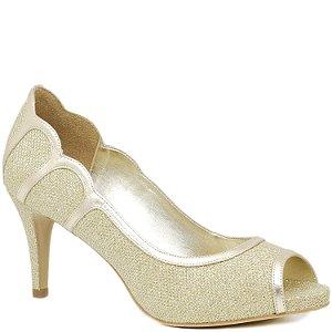 Peep Toe Salto Médio - Tecido Dourado Brilho - 62125