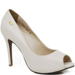 Peep Toe Salto Alto Fino - 9406 - Serpente Off White