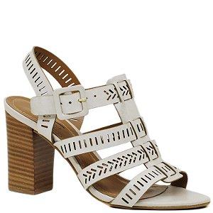 Sandália de Tiras em Salto Grosso Alto - Off White - 43502