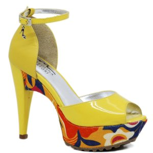 Sandália Salto e Meia Pata - 3611- Amarelo