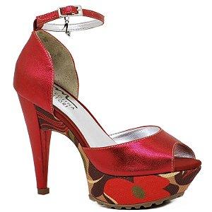 Sandália Salto e Meia Pata - 3611- Vermelho