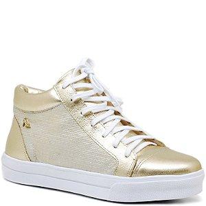 Tênis Sneaker - Branco e Dourado - 90003