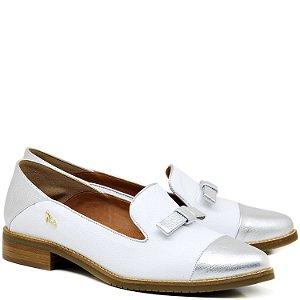 Oxford Bico Redondo - Prata e Branco - 30006
