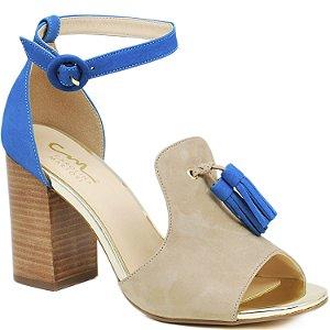 Sandália Salto Grosso Médio -  Azul - 54108