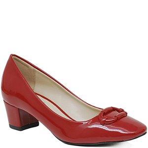 Scarpin Bico Redondo Salto Grosso - 55189 - Vermelho