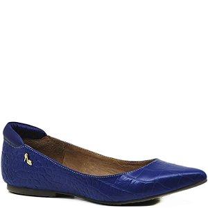 Sapatilha de Couro forrada de Couro - Croco Azul - 9804