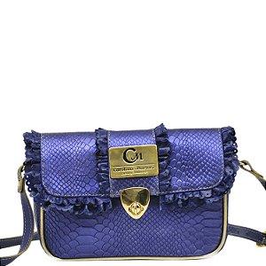 Bolsa Transversal - 10362 - Cobra Azul - Ouro