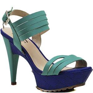 Sandália Salto e Meia Pata - 3613 - Azul / Limão