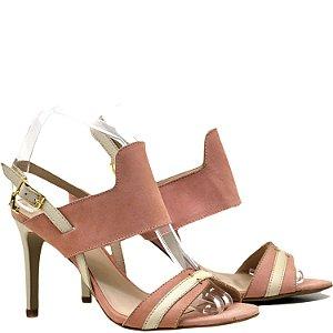 Sandália Salto Alto - 6196 - Nobuck Rose / Off