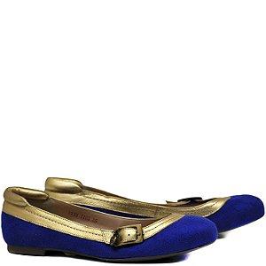 Sapatilha Suede com Fivela - 11005 - Royal / Ouro