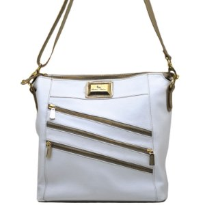 Bolsa Grande Transversal - 10234 - Branco / Ouro