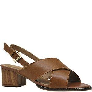 Sandália em X Salto Grosso Médio - Caramelo - 6591