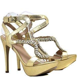 Sandália Salto e Meia Pata - 4960 - Ouro