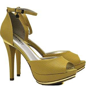 Sandália Salto Fino - 9759 - Vazado Amarelo
